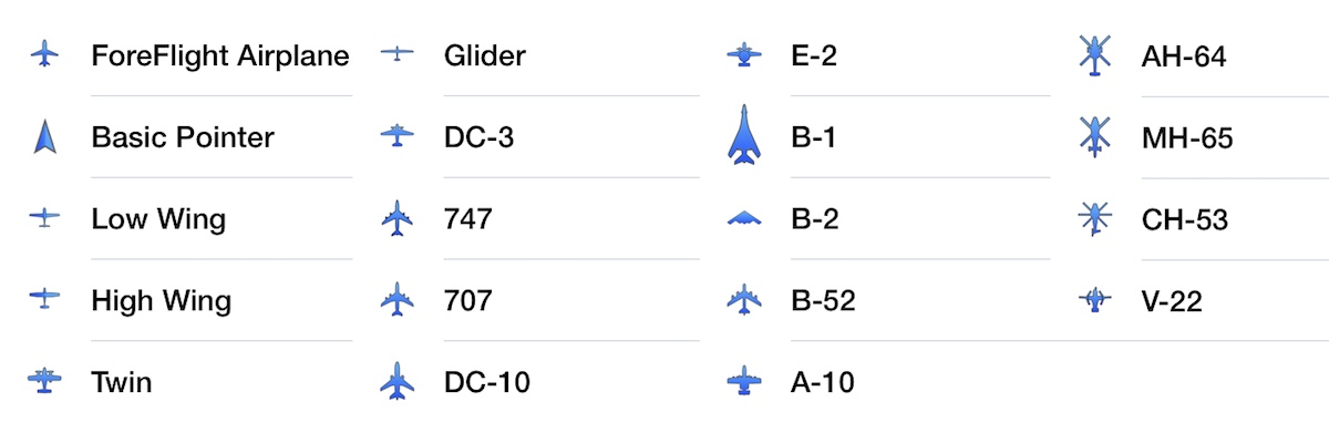 New Aircraft Options for Current Location Marker