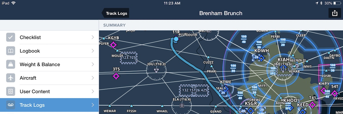 Debrief Flights with Integrated Track Log Maps