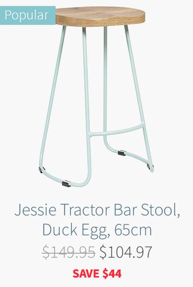 Jessie Tractor Bar Stool, Duck Egg, 65cm