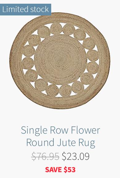 Single Row Flower Round Jute Rug