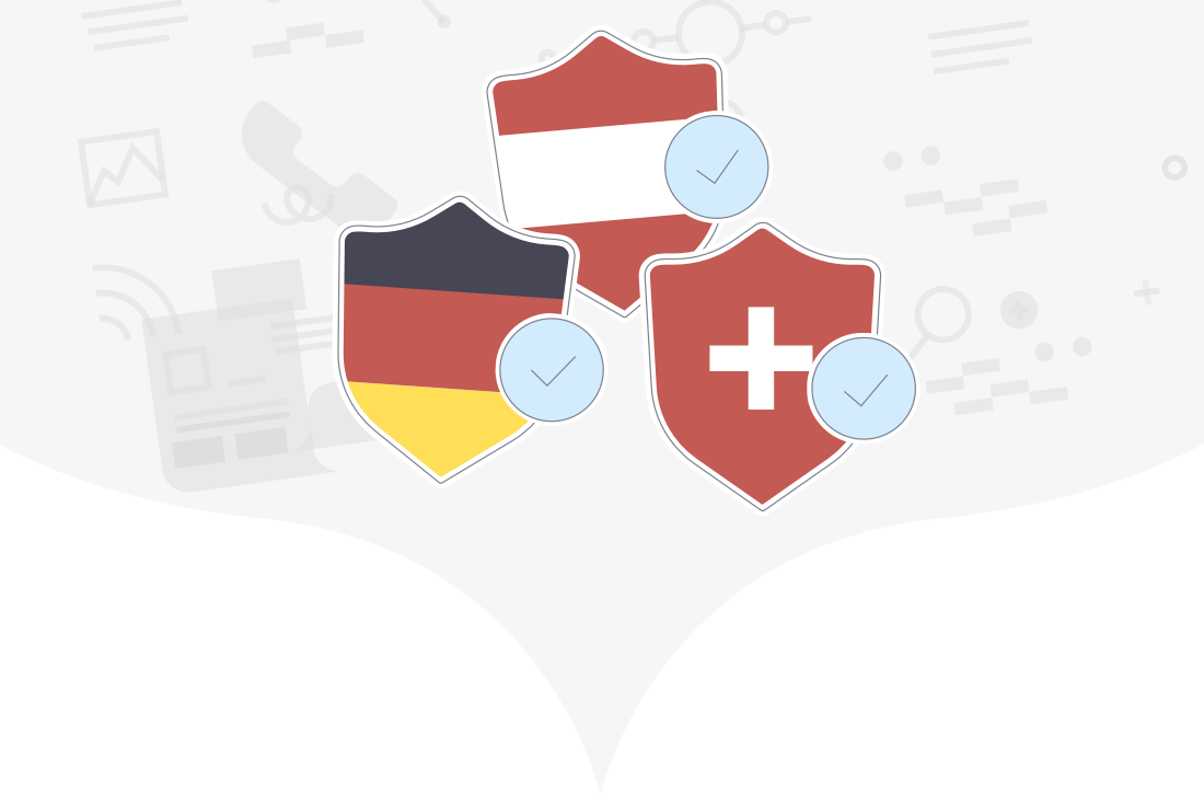 German, Austrian and Swiss flags