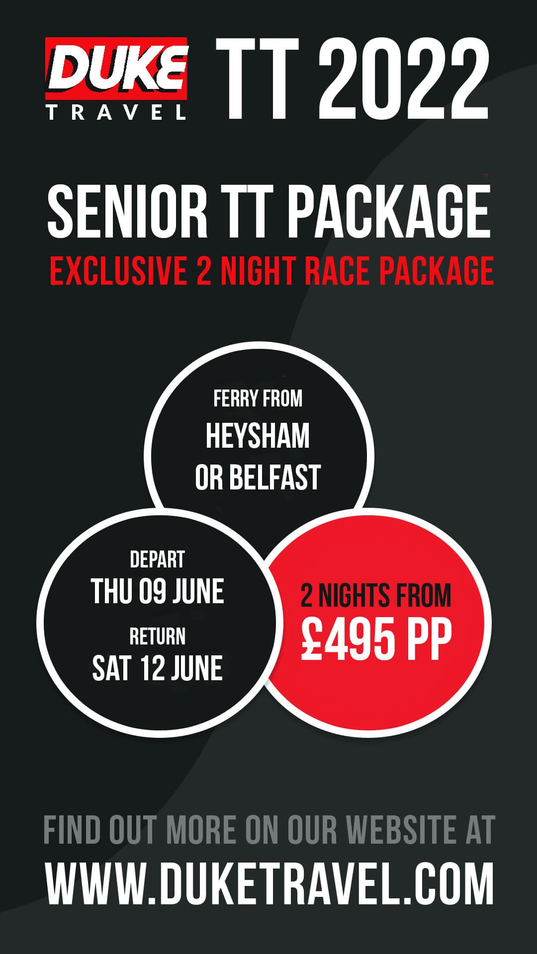 2022 Senior TT                                                 Package - 2 nights from                                                 £495pp